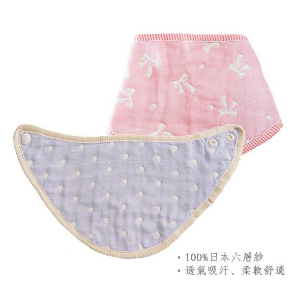 ollobaby瓦吉司 - HiBOU喜福 - 六層紗口水巾圍兜 (水玉紅) 5