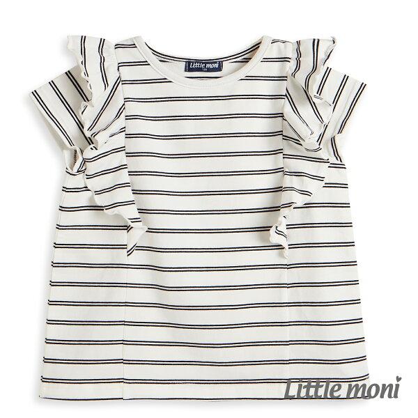 Littlemoni條紋荷葉袖上衣-白色