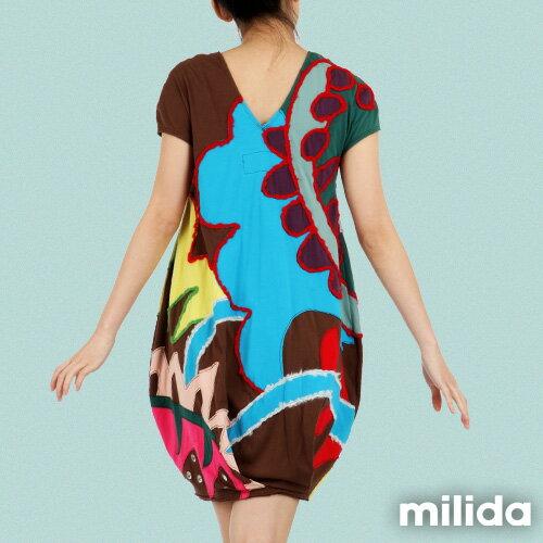 【Milida,全店七折免運】-夏季商品-拼貼款-毛線拼貼洋裝 2