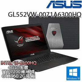 ASUS 華碩GL552VW-0071A6300HQ 戰鬥電競主機 i5-6300HQ/FHD IPS/GTX 960M獨顯2G/1TB/W10
