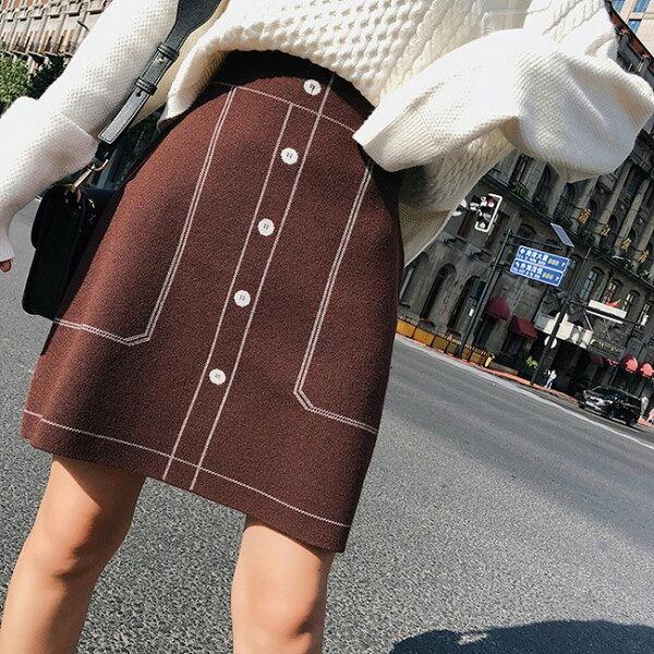 短裙素色線條A字裙無內裡窄裙不收邊包臀短裙【NDF5211】BOBI0927