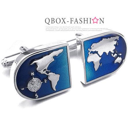 QBOX Fashion 飾品:《QBOX》FASHION配飾【W10023397】精緻個性世界地圖電鍍銅質造型袖扣