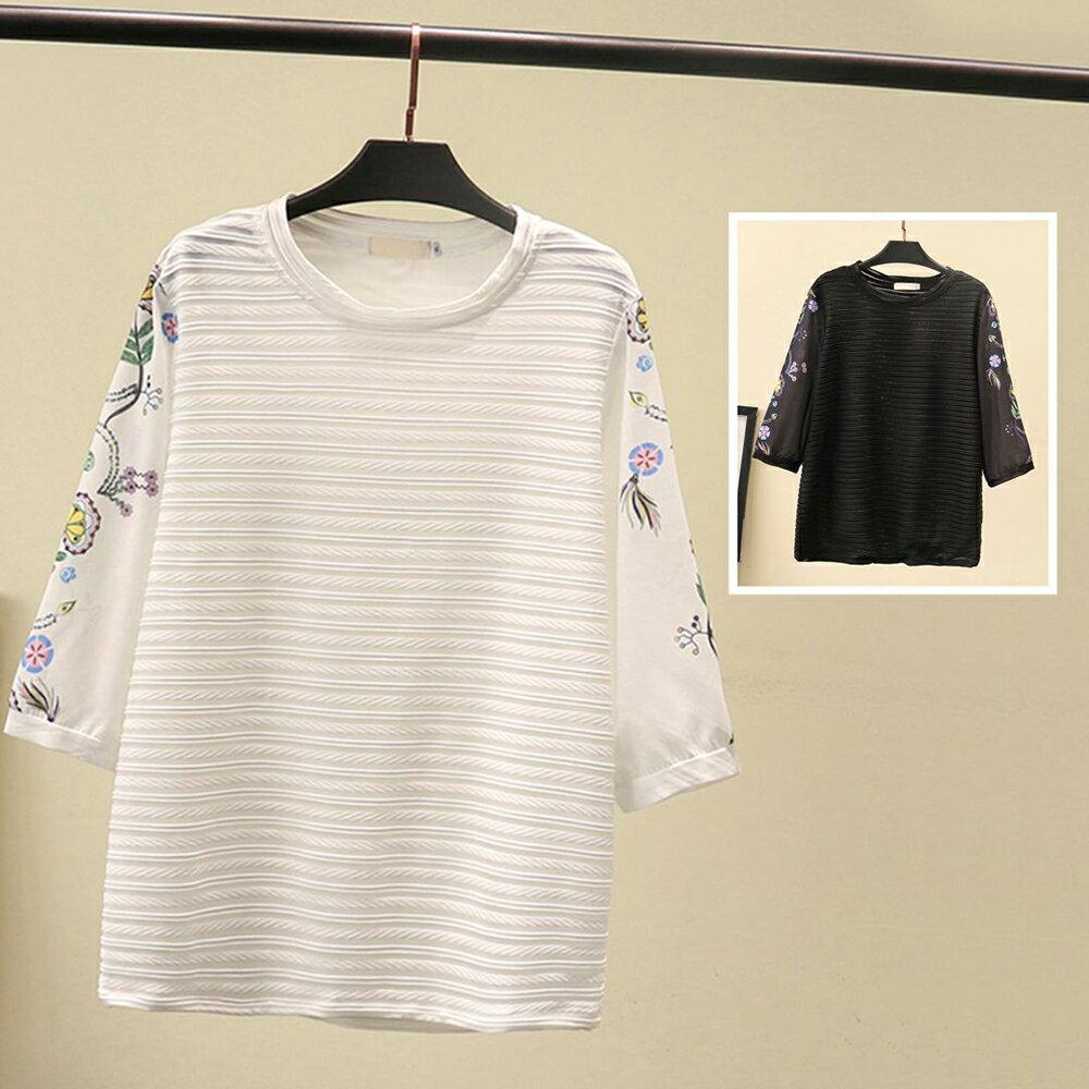 *ORead*日系森女系雪紡拼接短袖T恤上衣(2色XL~4XL)