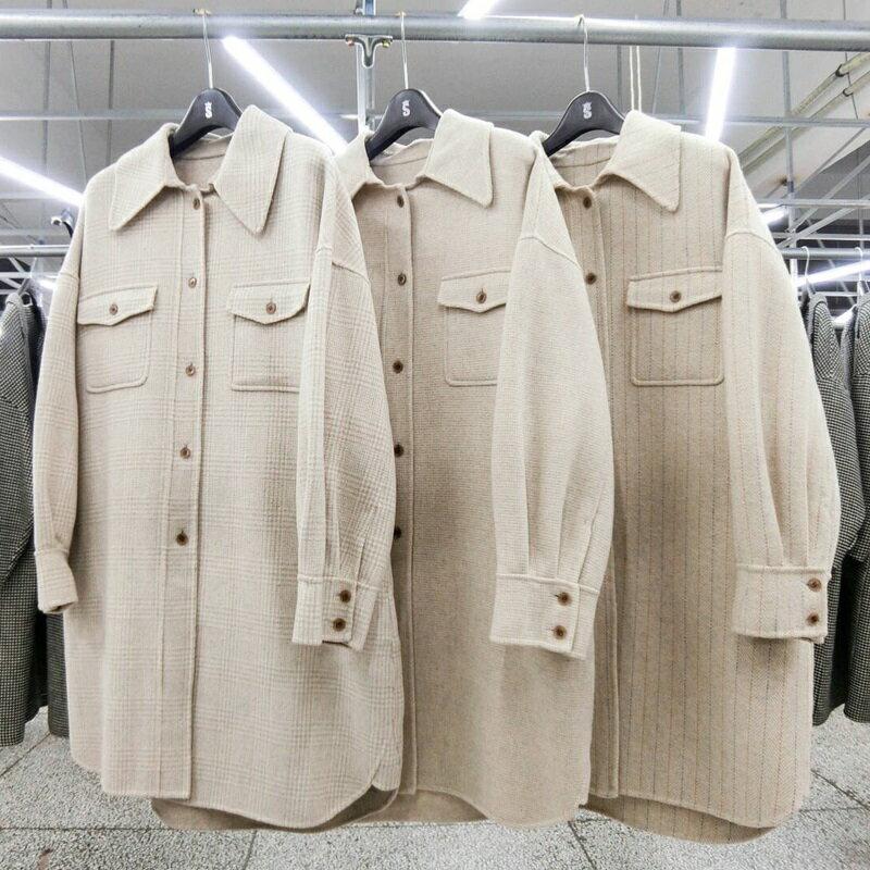 毛呢大衣羊毛外套-長版米色翻領單排扣女外套3款73wb10【獨家進口】【米蘭精品】 2
