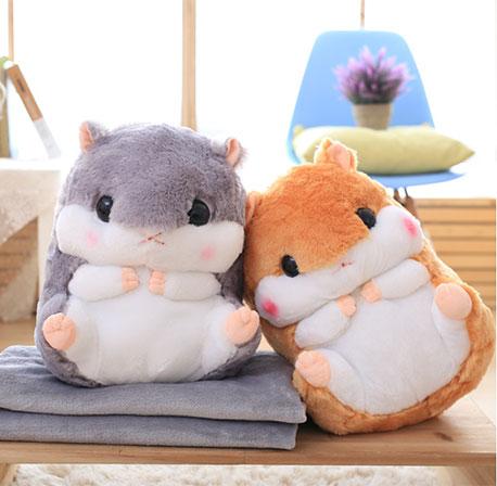 可愛倉鼠兩用抱枕毯 毛毯 絨毛靠枕 娃娃 黃金鼠 免運 0