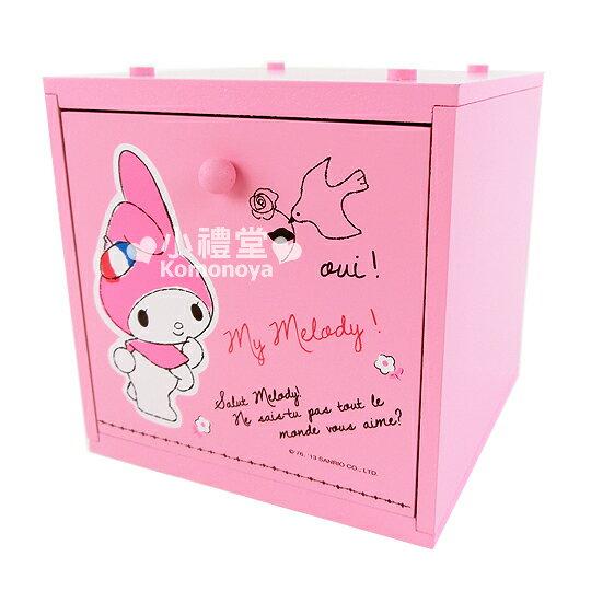 〔小禮堂〕美樂蒂 積木式單抽收納盒《粉紅.法國風情》迷你型適用桌面收納