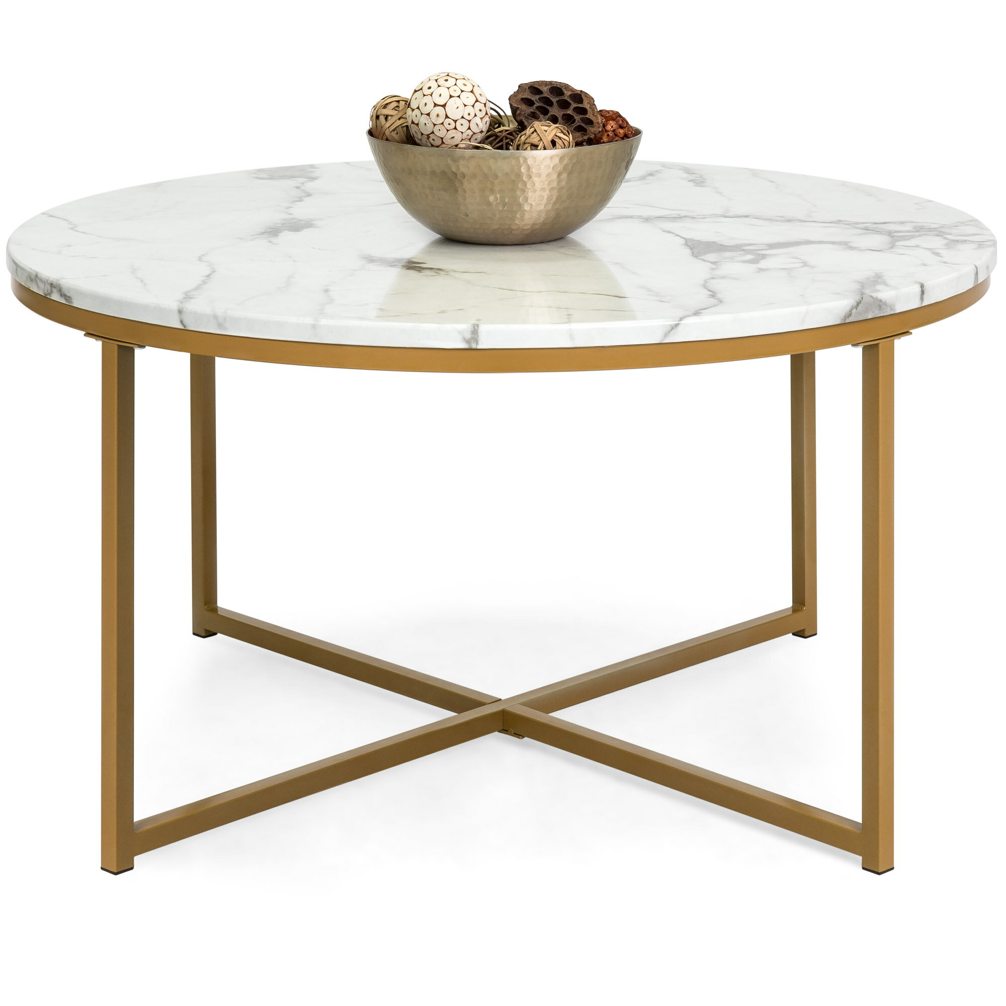 Best Choice Products 36in Faux Marble Modern Living Room Round Accent Side Coffee Table W Metal Frame White Bronze Gold