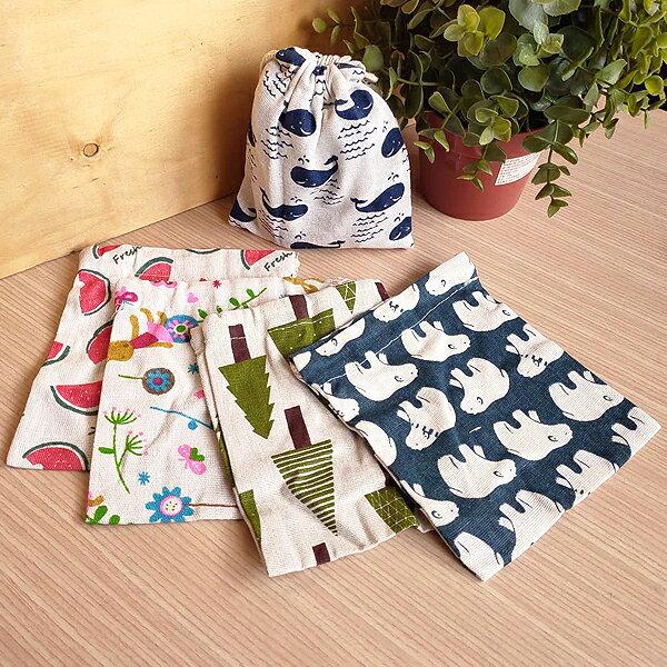 日系彩繪束口袋-小 萬用抽繩收納袋 手提棉麻布收納袋 飾品手機眼鏡袋