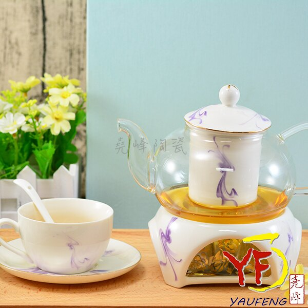 ★堯峰陶瓷★精選下午茶具組 花茶具組 點心 一壺兩杯兩碟兩匙+爐座 紫色夢幻