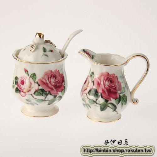 英國薔薇玫瑰糖罐+奶精罐/857-156
