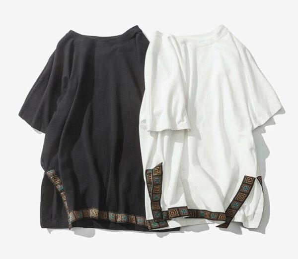 FINDSENSEMD日系男時尚潮流休閒寬鬆簡約下擺開叉民族風短袖T恤特色短T