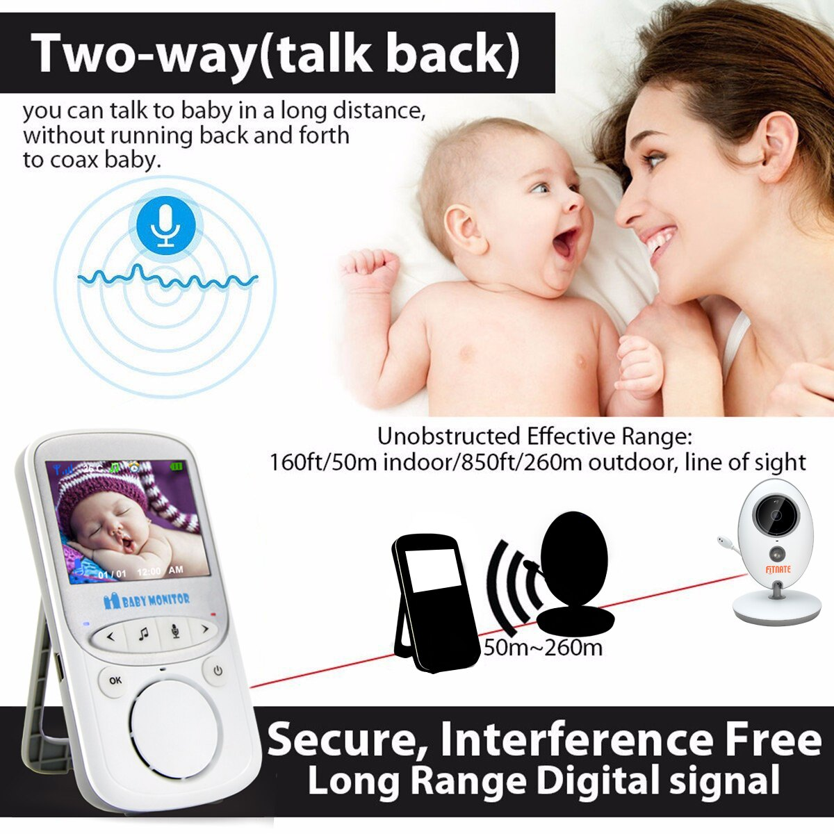 Fitnate®  Night Vision Wireless Video Baby Monitor with Digital Camera,Temperature Monitoring & 2 Way Talkback System, Built-in Remote Lullabies, More Strong Signal, Larger Monitor 2