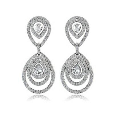 ~純銀耳環鍍白金鑲鑽耳飾~奢華亮眼氣質迷人生日情人節 女飾品73cr369~ ~~米蘭 ~