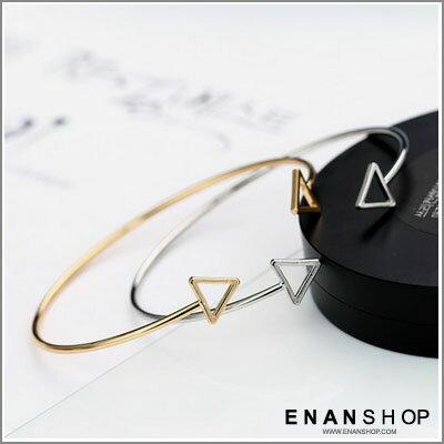 簍空三角 手環 開口金屬手環