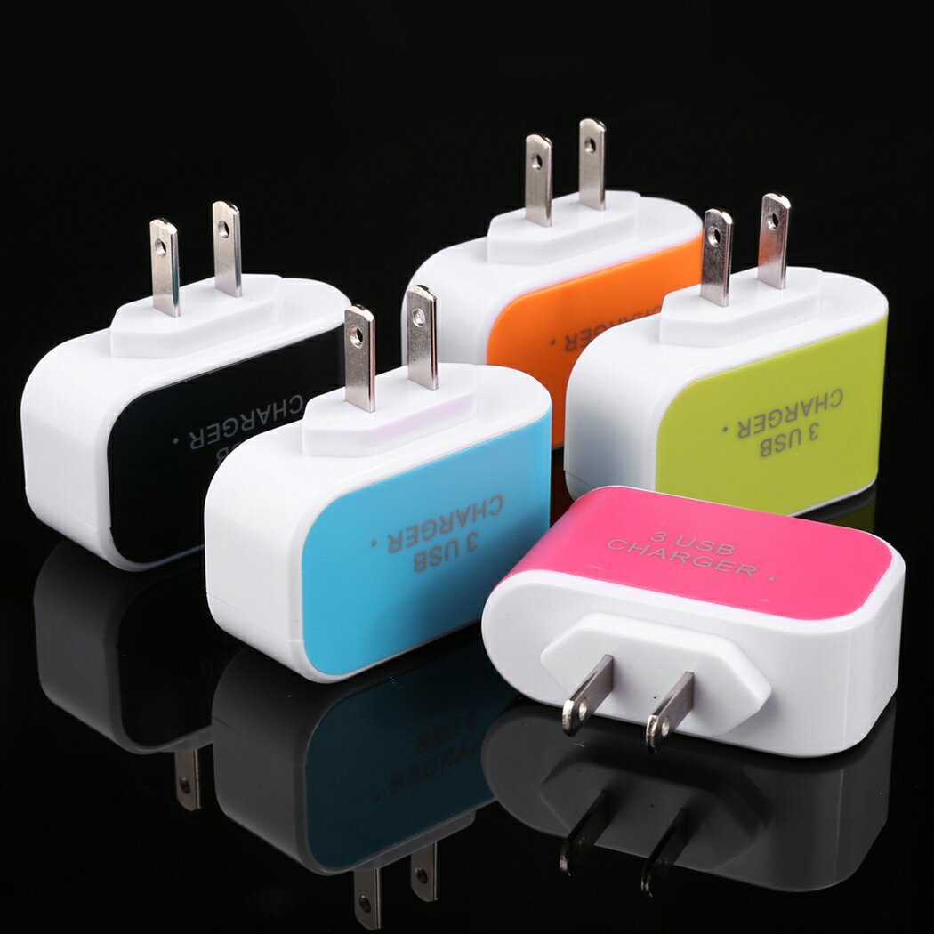 New 3-Port USB AC Charger Adapter for Phone US Plug 5 Colors 3