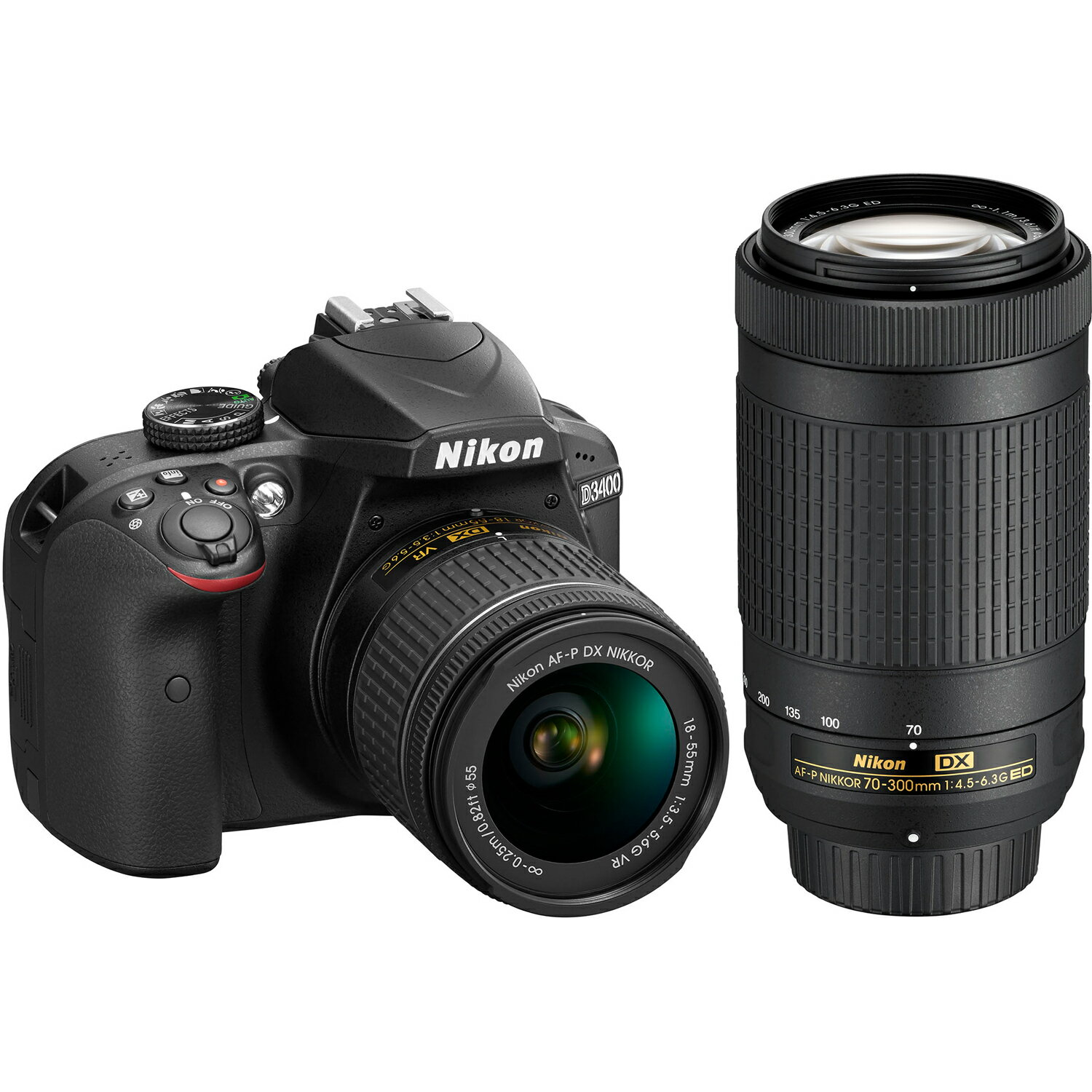 Nikon D3400 24.2MP Digital SLR Camera w/ AF-P 18-55mm VR & 70-300mm Dual Zoom Lens Kit 1