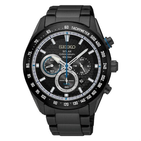 SeikocriteriaV175-0EE0SD(SSC591P1)極致競速太陽能計時腕錶黑面43.6mm