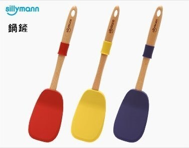 韓國sillymann矽膠廚具 (木柄鍋鏟) - 藍色