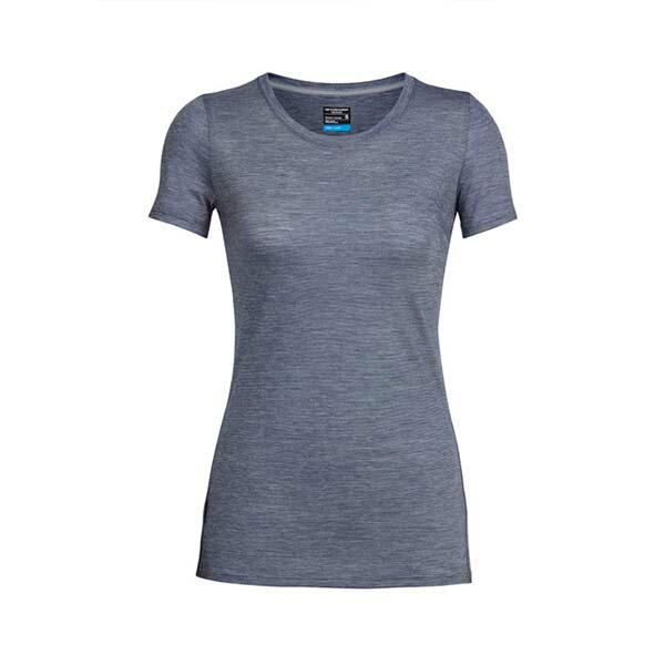 《台南悠活運動家》icebreaker 104067 女 COOL-LITE 圓領短袖上衣-條紋深灰