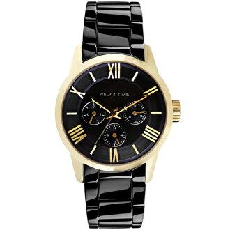 Relax Time RT-65-3M 對錶系列黑金時尚腕錶/黑面(大)45mm