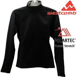 Westcomb 保暖刷毛衣/中層半門襟/ Power Stretch 長袖/登山/健行/旅遊 Sphere Top 女款 黑色