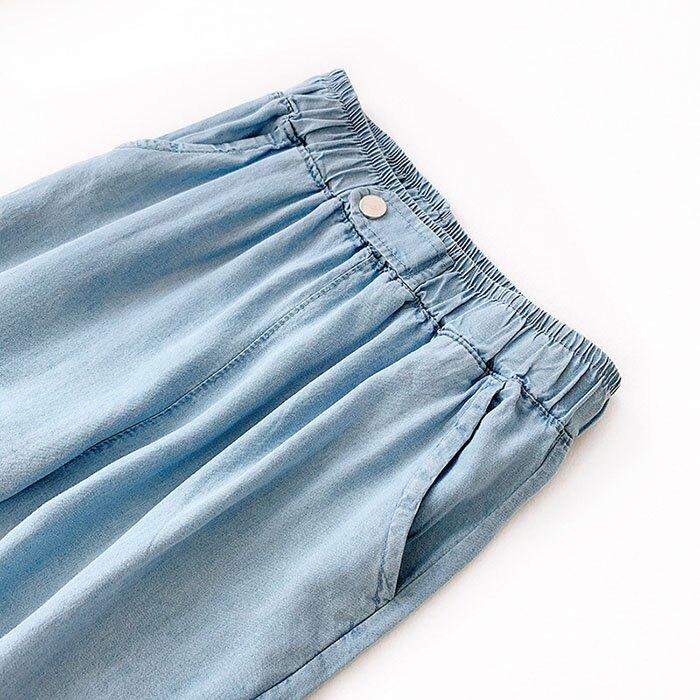七分褲 素色 寬管褲 垂墜感 薄款 鈕扣 裝飾 鬆緊腰 七分褲【HA821】 BOBI  05 / 30 5