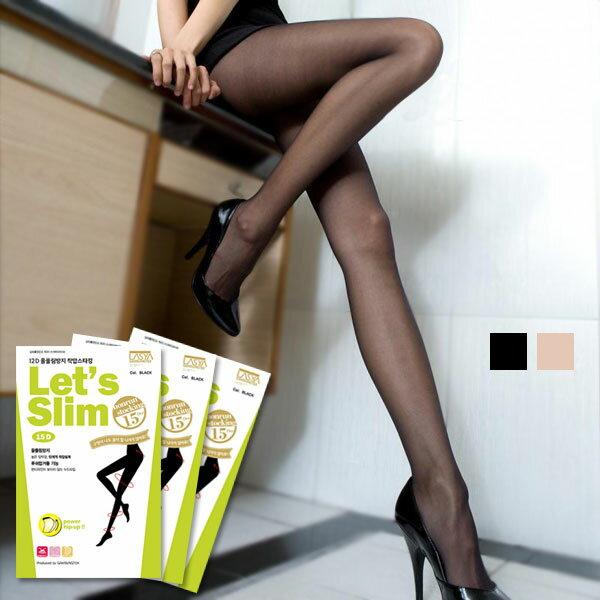 Let's slim 透膚絲襪 褲襪 韓國瘦腿襪 15D 黑膚 提臀顯瘦性感 正韓 Anna S.