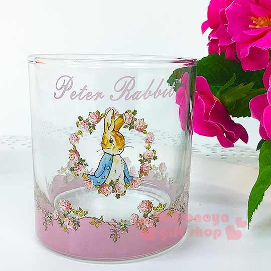 〔小禮堂〕彼得兔 玻璃威士忌杯~小.透明.粉.玫瑰花圈.245ml~