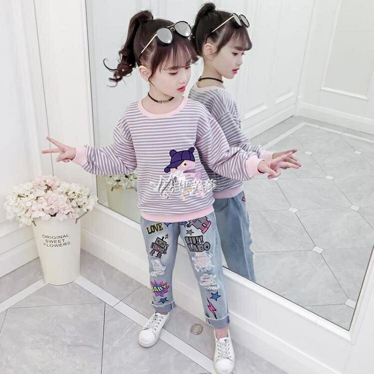 女童T恤春裝2021新款兒童長袖打底衫中大童卡通條紋衛衣套頭上衣