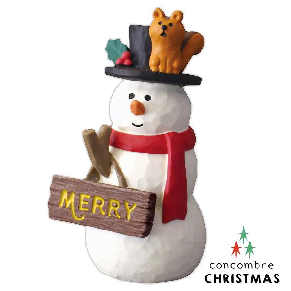 文五雙全x文具五金生活館:Decole聖誕節擺飾-提著聖誕節看板的雪人Concombre(ZXS-74008)現貨推薦聖誕交換禮物聖誕布置推薦