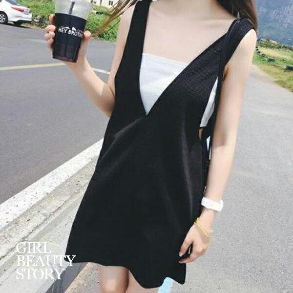 SISI【E8025】現貨休閒浪漫一字領平口上衣+雙V領無袖連身裙洋裝套裝