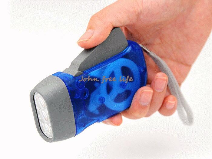 約翰家庭百貨》【WA130】停電必備 3LED燈環保手動發電手電筒 隨機出貨