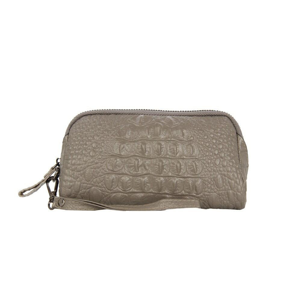 手拿包真皮錢包-純色鱷魚紋牛皮長款女包包5色73wz39【獨家進口】【米蘭精品】 0