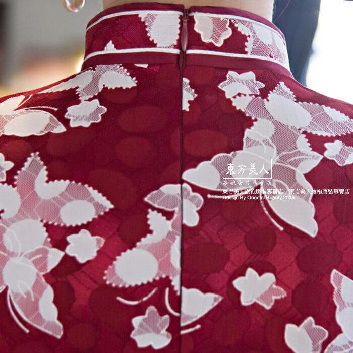 東方美人旗袍唐裝專賣店 ☆°((超低價690元))°☆272(兩色)。優雅美麗蕾絲印花改良式時尚顯瘦日常短旗袍連身裙洋裝 8