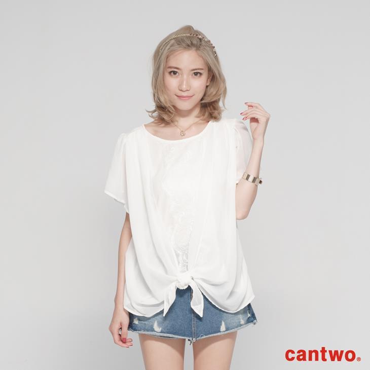 cantwo雪紡蕾絲假兩件上衣(共二色) 0