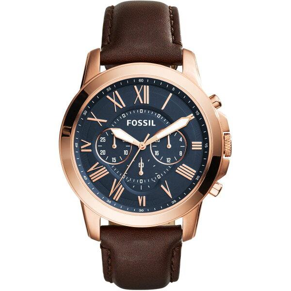 美國百分百【全新真品】FOSSIL不鏽鋼手錶腕錶三眼計時棕色皮革錶帶FS5068玫瑰金J047