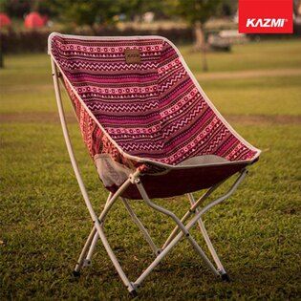 【露營趣】KAZMIK8T3C003WI彩繪民族風懶人折疊椅(酒紅色)摺疊椅休閒椅月亮椅童軍椅釣魚椅