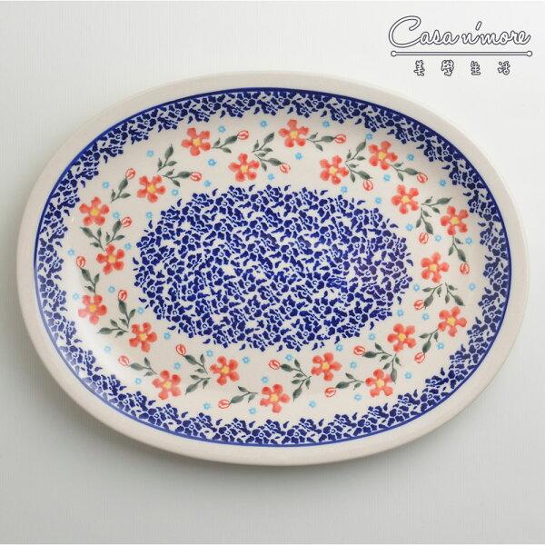 波蘭陶藍印紅花系列橢圓形餐盤陶瓷盤菜盤水果盤沙拉盤29cm波蘭手工製