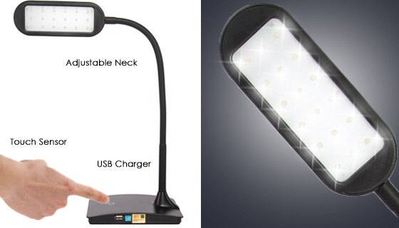 IVY LED Flexible Desk Lamp with USB Charger 1
