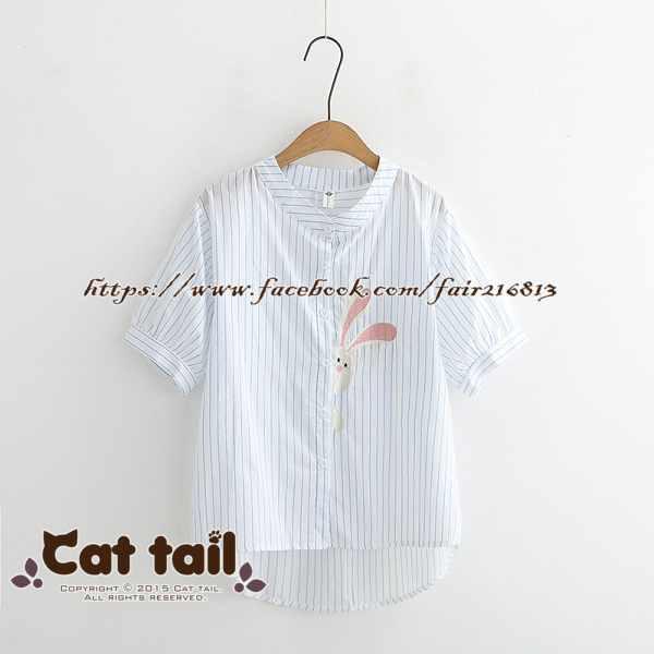 《貓尾巴》TS-0906日系可愛小兔刺繡短袖襯衫(森林系日系棉麻文青清新)