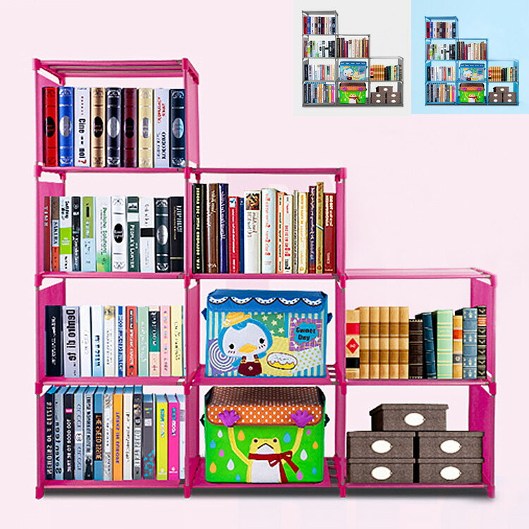 Adjustable Bookcase Storage Bookshelf with 9 Book Shelves 0