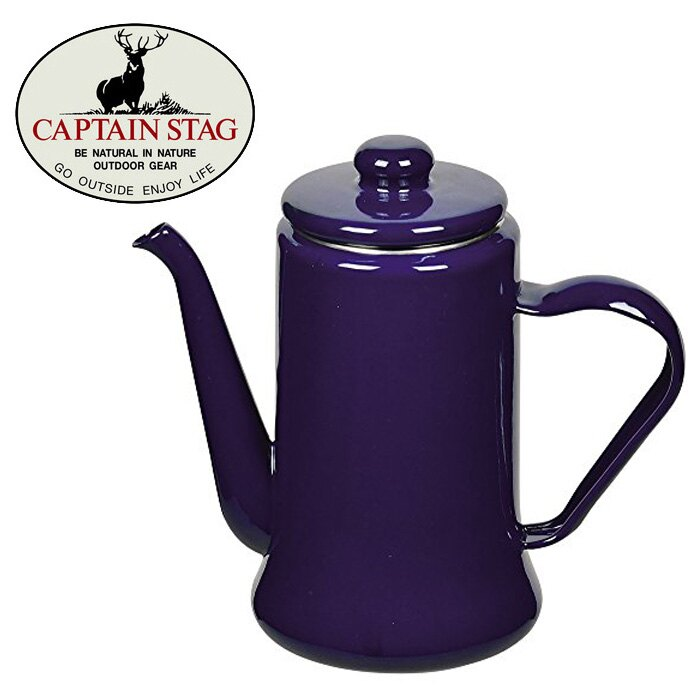 【CAPTAIN STAG 鹿牌 日本】 Pearl 琺瑯壺1.1L 琺瑯壺 水壺 燒水壺 茶壺-深藍/HB-2585