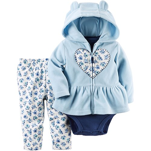 【hella 媽咪寶貝】美國 Carters/Carter 嬰幼兒秋冬暖外套包屁衣長褲三件組 藍色愛心花園 CTGC043
