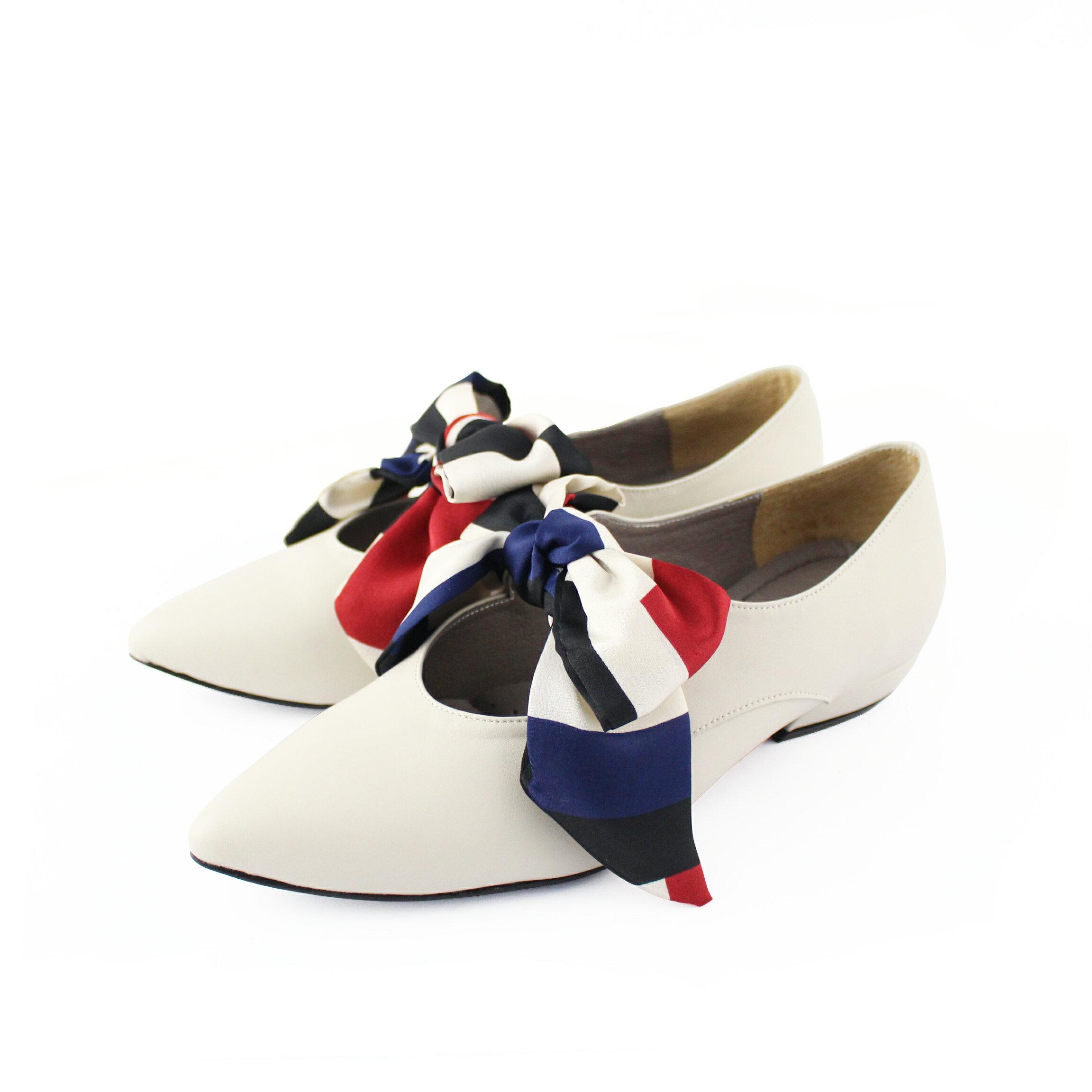 【F2-19104L】優雅緞布蝴蝶結低跟鞋_Shoes Party 6