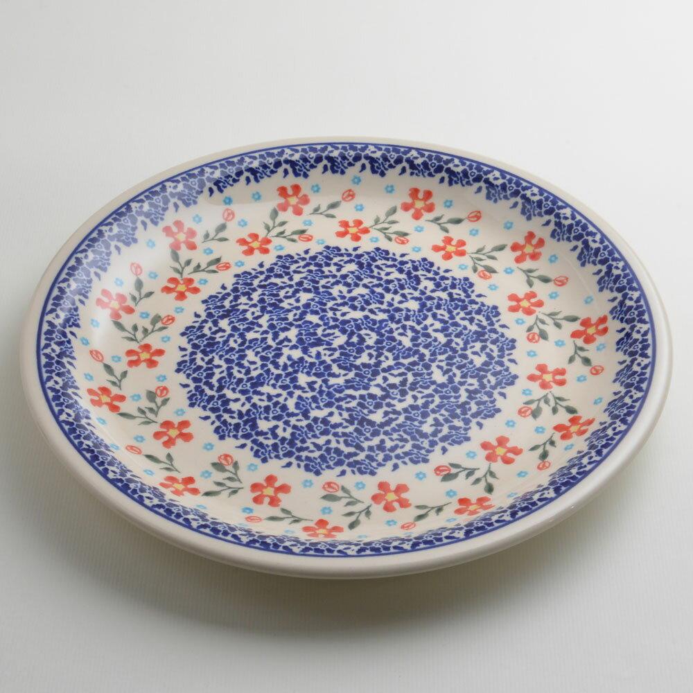 波蘭陶 藍印紅花系列 圓形餐盤 陶瓷盤 菜盤 點心盤 圓盤 沙拉盤 27cm 波蘭手工製 2