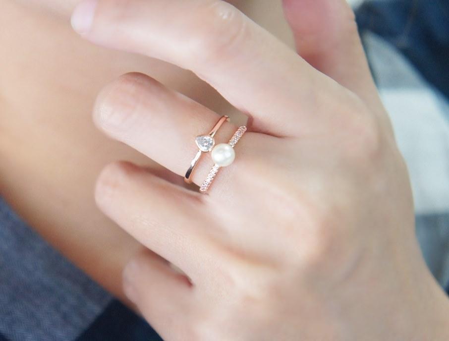 2782657韓系環繞開口珍珠 鋯石戒指 可微調