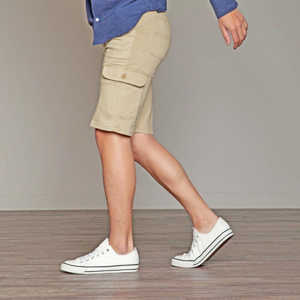 KASO 經典卡其 多口袋彈力休閒短褲( 中大尺碼 休閒 短褲 男性 夏天 Cargo Shorts) 4