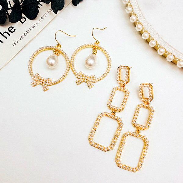 耳環幾何長方形圓形蝴蝶結珍珠氣質耳釘耳環【DD1805109】BOBI0524