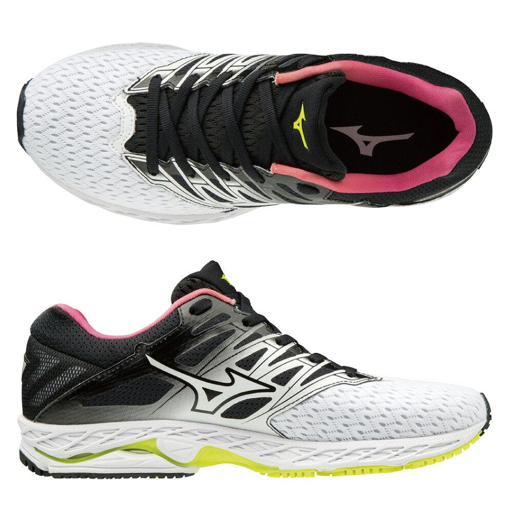WAVE SHADOW 2 一般型女款慢跑鞋 J1GD183016(白X黑X桃紅)【美津濃MIZUNO】 1
