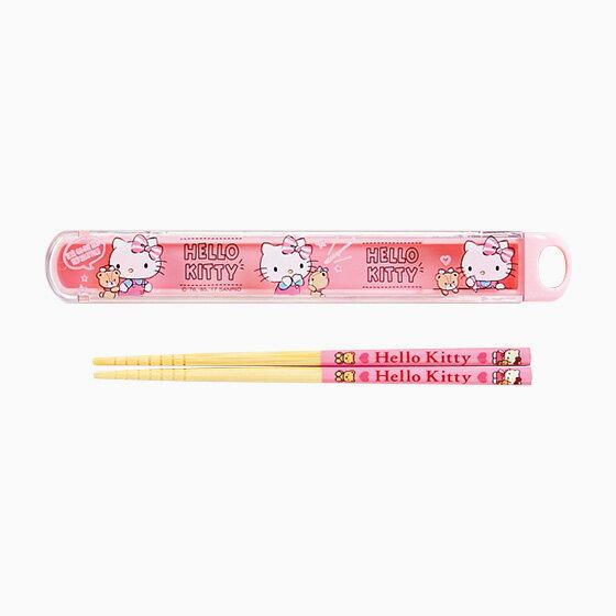 【真愛日本】4901610497005 日本製抽拉筷子附盒-KT+ABA 三麗鷗 Hello Kitty 凱蒂貓 餐具組 筷子 日本製